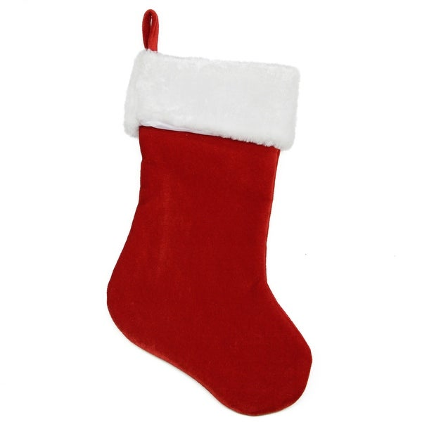 """24"""" Large Traditional Red Velveteen Christmas Stocking with White Faux Fur Cuff"""