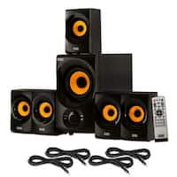 Acoustic Audio AA5170 Home 5.1 Bluetooth Speaker System with FM & 4 Ext. Cables