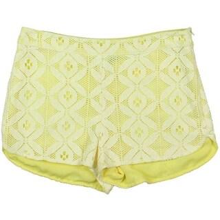 Aqua Womens Crochet Contrast Lined Casual Shorts