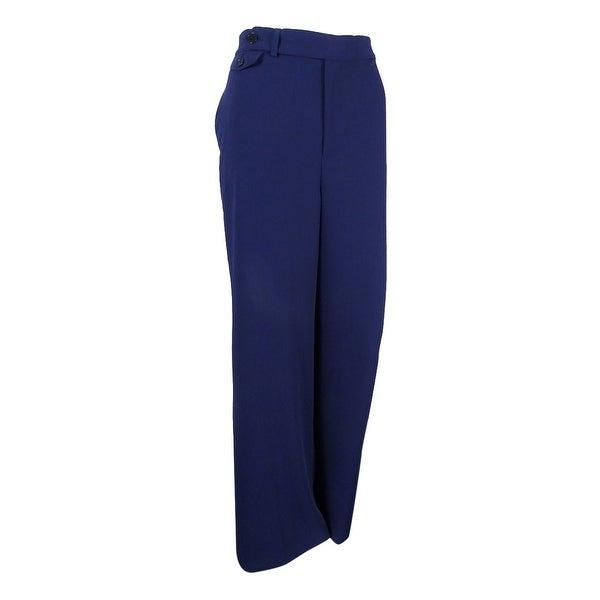 Lauren Ralph Lauren Women's Wide-Leg Sharkskin Pants (Navy, 8) - Navy - 8