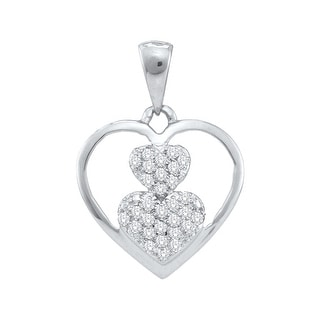 Triple Heart Pendant 10K Yellow-gold With Diamonds 0.1 Ctw By MidwestJewellery - White