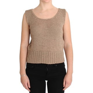 PINK MEMORIES PINK MEMORIES Beige Cotton Knitted Sleeveless Sweater