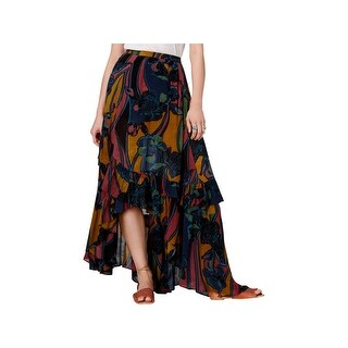 Free People Womens Maxi Skirt Printed Tiered