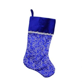 "20.5"" Blue and Silver Glitter Filigree Swirls Christmas Stocking with Decorative Metallic Trim"