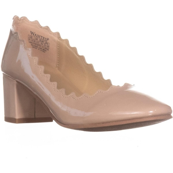 Wanted Mia Block Heel Scalloped Pumps, Taupe - 8.5 us