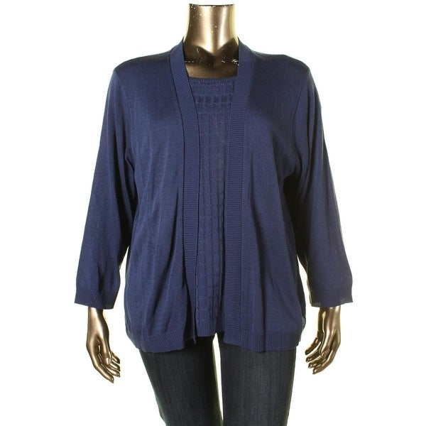 Alfred Dunner Womens Plus Pullover Sweater 2Fer Knit