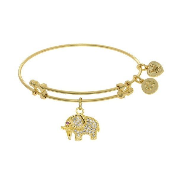 Angelica Collection Brass with Yellow Elephant Charm with White Cz On Yellow Bangle