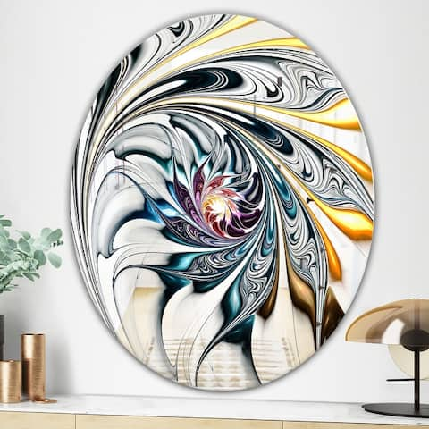 Designart 'White Stained Glass Floral Art' Modern Mirror - Contemporary Oval or Round Wall Mirror