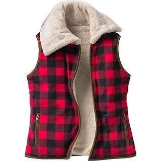 Legendary Whitetails Ladies Kettle Hills Vest - shotgun shell red plaid