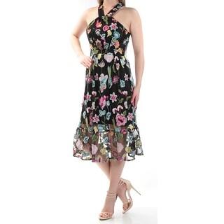 CYNTHIA ROWLEY $179 Womens 1169 Black Floral Halter Midi Fit + Flare Dress  S B+