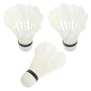 Unique Bargains 3 Pcs Goose Feather Badminton Shuttlecocks White for Match Training