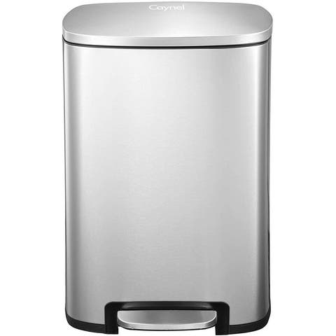 Caynel 13 Gallon Stainless Steel Rectangular Step Trash Can