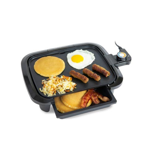 HomeCraft HCGDWD90BK Non-Stick Griddle With Warming Drawer