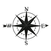 8 Point Compass Rose and Arrow Distressed Metal Wall Hanging 46 Inch