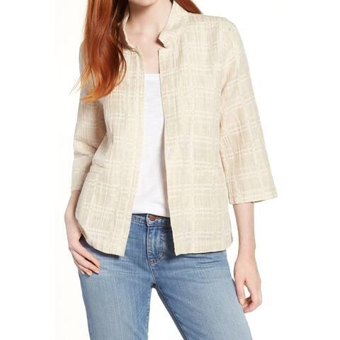 Eileen Fisher Women's Beige Size Large L Plaid Print Open Jacket