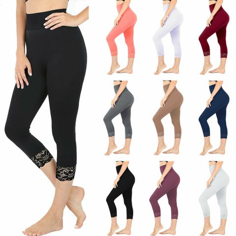 NioBe Clothing Womens High Waist Seamless Nylon Capri Lace Trim Leggings