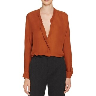 Vince Womens Casual Top Silk V-Neck