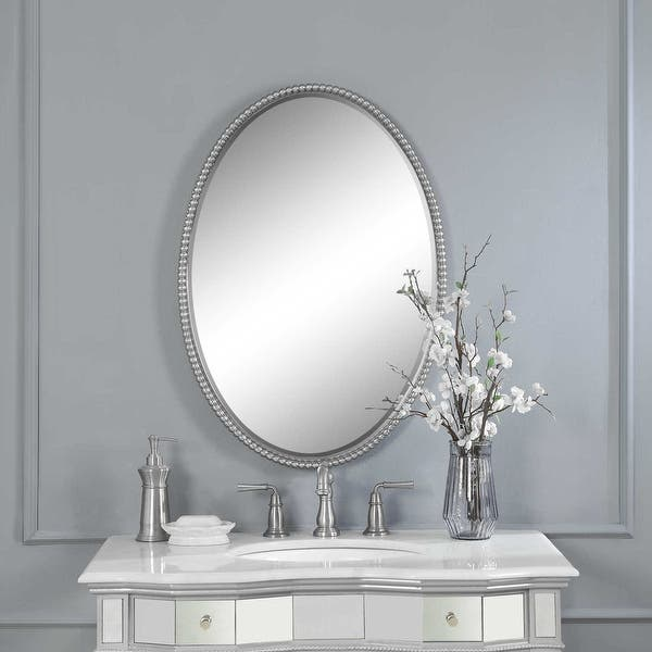 Shop Uttermost 01102 B Sherise Contemporary Oval Beaded Frame Bathroom Wall Brushed Nickel Overstock 22906976