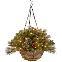 """20"""" Pre-Lit Artificial Pine Christmas Hanging Basket with Berries - Warm Clear Lights - Green"""