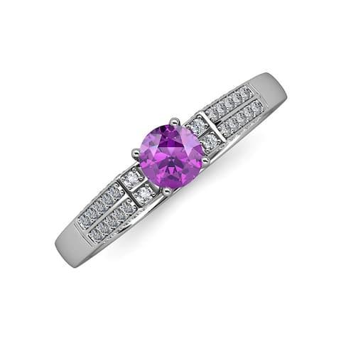 TriJewels Gemstone Diamond Accent Women Engagement Ring 14K White Gold