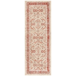 Safavieh Windsor Bohemian & Eclectic Ivory / Red Cotton Rug - 3' x 8' Runner