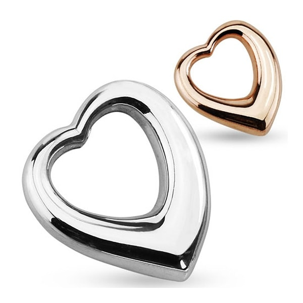 Hollow Heart 316L Stainless Steel Pendant 23.6 Inches (19 mm Width)