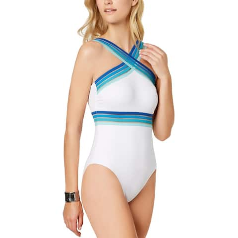 476a4aae8664f Kenneth Cole Womens Stompin' In Stilettos One-Piece Swimsuit Medium White  Blue