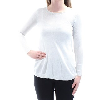 Womens Silver Long Sleeve Jewel Neck Casual Top Size XS
