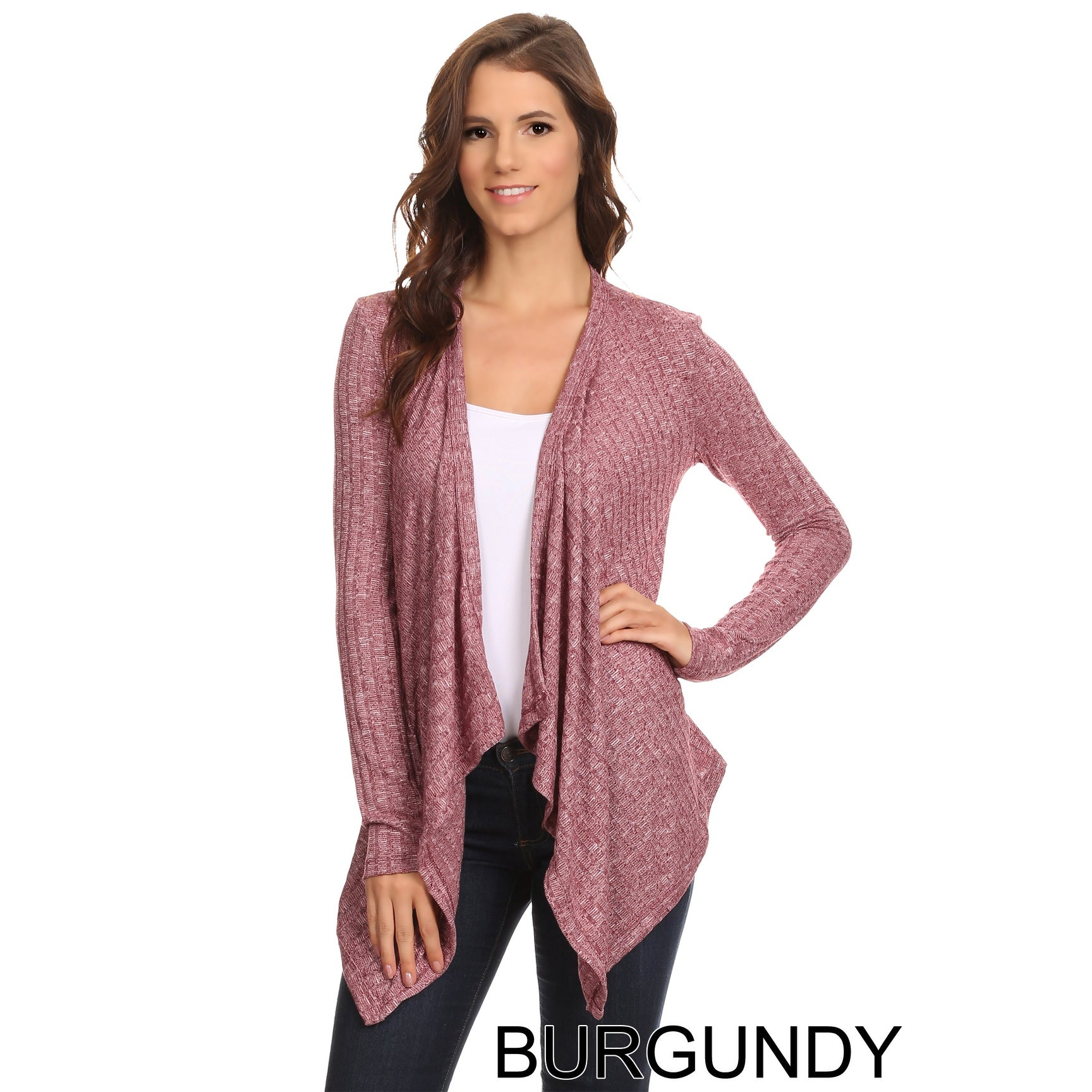 Sharon's Outlet Women's Ribbed Open Front Long Sleeve Cardigan Small to 3XL Made in USA - Thumbnail 3