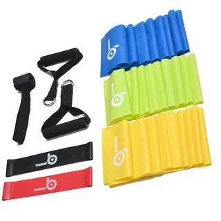 ODOLAND 9-In-1 Fitness Exercise Bands Kit w/ Resistance Band Door Anchor Handles, Yellow