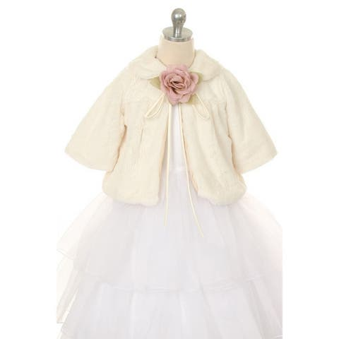 Kids Dream Ivory Faux Fur Special Occasion Half Coat Girls 2T