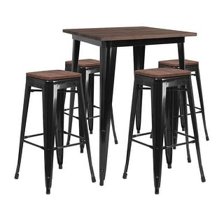 """Offex 31.5"""" Square Black Metal Bar Table Set with Wood Top and 4 Backless Stools"""