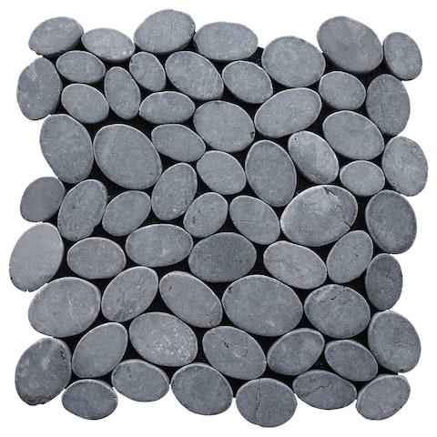 "Miseno MT-C3 Marble Pebble - 12"" x 12"" Pebble Floor and Wall Mosaic"
