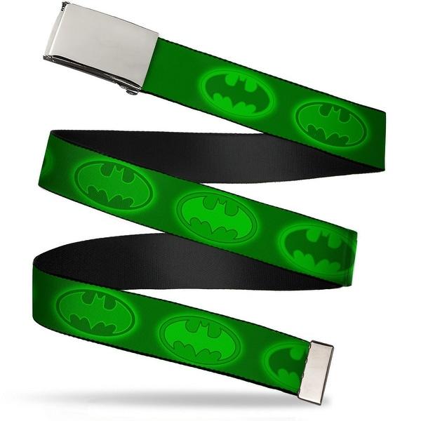 Blank Chrome Buckle Glowing Bat Signals Greens Webbing Web Belt