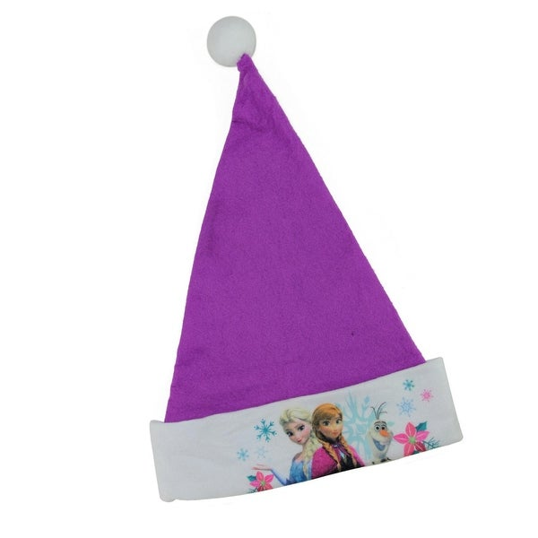 "17.5"" Disney Frozen Elsa, Anna and Olaf Purple Christmas Santa Hat with White Trim"