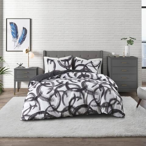 CosmoLiving Anaya Black/ White Cotton Printed Comforter Set