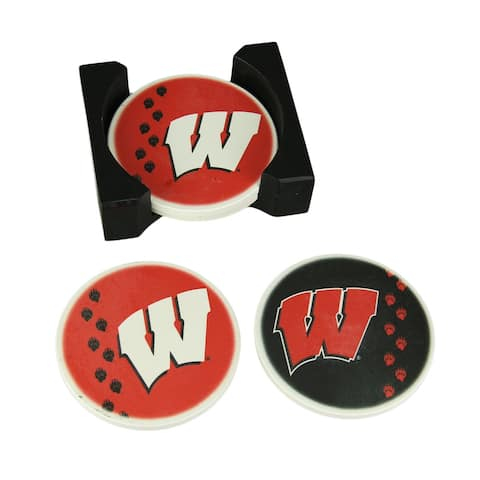 University of Wisconsin Badgers 4 Piece Absorbent Coaster Set With Caddy - 1.75 X 5 X 4.25 inches