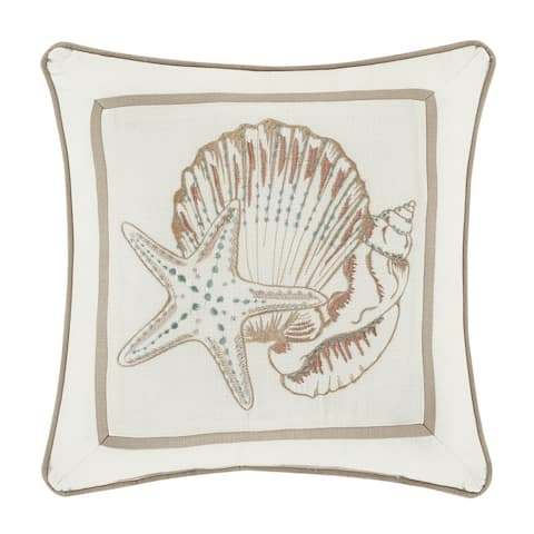 Royal Court Water's Edge Natural Square Decorative Throw Pillow