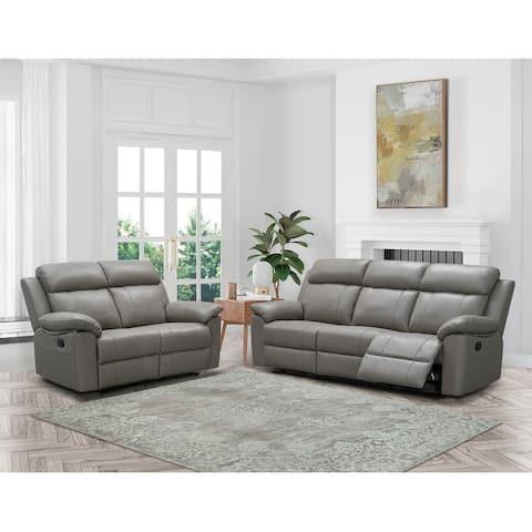 Abbyson Braylen Top Grain Leather Manual Reclining Sofa and Loveseat Set