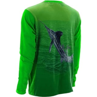 Huk Men's KC Scott Money Fish Small Neon Green Performance Long Sleeve Shirt