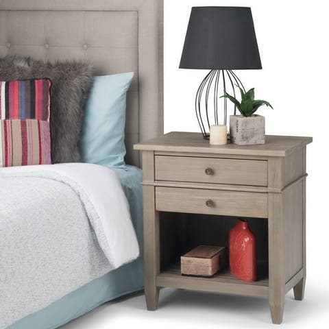 WYNDENHALL Sterling SOLID WOOD 24 inch Wide Transitional Bedside Nightstand Table