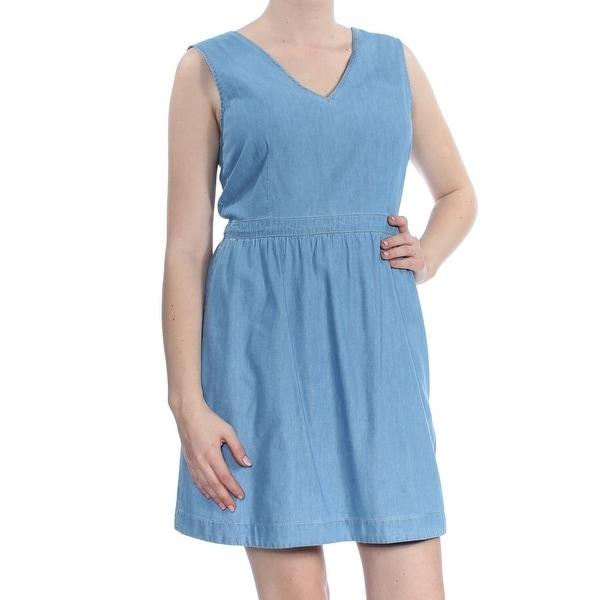 196f2cf283981 LEVI'S Womens Blue Back Tie Twill Sleeveless V Neck Above The Knee Dress  Size: M