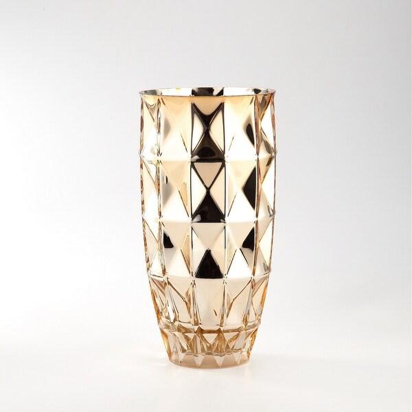 "10"" Gold Colored Geometric Pattern Handblown Glass Tabletop Decor - N/A"