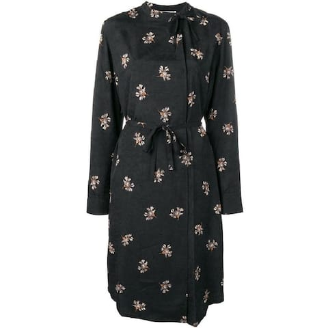 Vince Womens Black Floral Belted Midi Dress XL