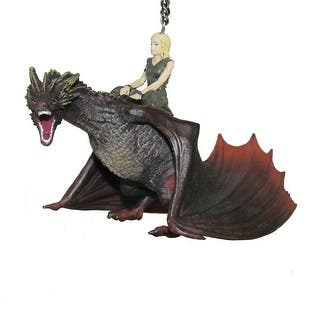 """Game Of Thrones Daenerys & Drogon Dragon Holiday Tree Ornament - 5"""" x 7"""" https://ak1.ostkcdn.com/images/products/is/images/direct/540078629e0d709ec3f060cfd7f59982accbc976/Game-Of-Thrones-Daenerys-%26-Drogon-Dragon-Holiday-Tree-Ornament---5%22-X-7%22.jpg?impolicy=medium"""