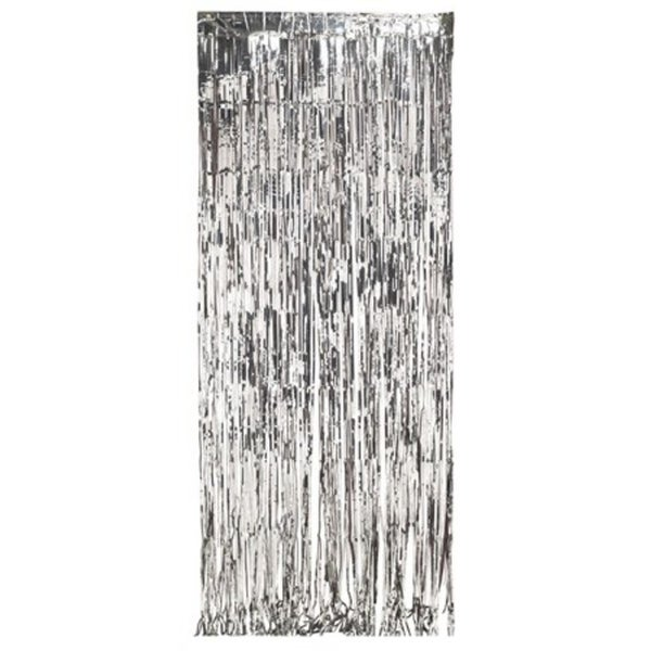 6 dazzling silver metallic foil christmas hanging door fringe decorations - Foil Christmas Door Decorations