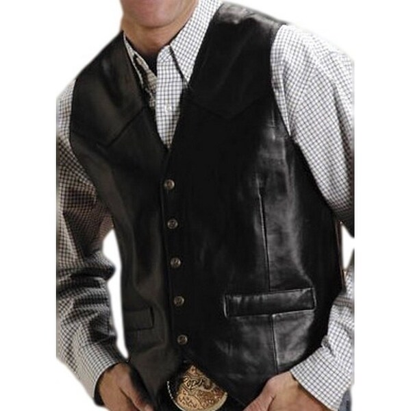ad23286b9f5ca Shop Roper Western Vest Mens Leather Vest Snap Black - Free Shipping Today  - Overstock - 15381831