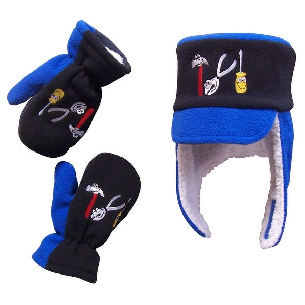 NICE CAPS Boys Sherpa Lined Fleece Little Mechanic Embroidered Hat And Mittens  Set c98ccdd1bfdd