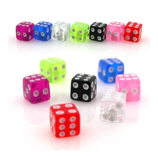 10 Piece Pack Threaded UV Acrylic Dice - 16GA (4mm Ball)