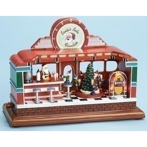 "11"" Vibrantly Colored Animated, Musical and LED Christmas Santa's Soda Fountain Tabletop - multi"